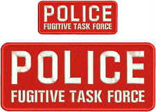 POLICE FUGITIVE TASK FORCE EMBROIDERY PATCH 4X10 & 2X5 HOOK ON BACK  RED/WHITE