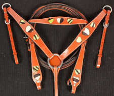 Green Zebra Heart Bridle Headstall Breastcollar Reins Leather Western Horse Tack