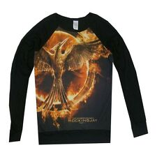 HUNGER GAMES PT 1 MOCKINGJAY NWOT BLACK STRETCH 100% R AYON LONG SLEEVE SHIRT