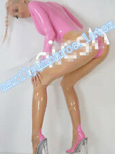 Latex Rubber Tights Bodysuit Transparent and Pink Catsuit Sexy Suit Size XS-XXL