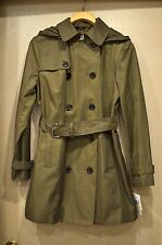 NWT MICHAEL KORS Olive Duffle Green Hooded Belted Trench Coat Jacket Size M