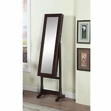 Artiva USA 63-inch Walnut Floor-Standing Mirror and Jewelry Armoire with LED
