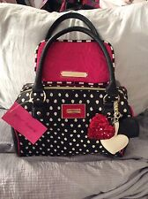 """Betsey Johnson """"Spot"""" Satchel With 3 Heart ❤️ Accessory  With Free Makeup Purse"""