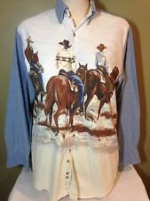 MENS COWBOY ROPER LONG SLEEVE SHIRT WESTERN BUTTON FRONT LARGE
