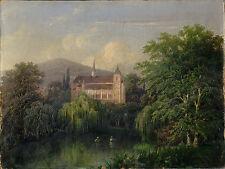 wunderschönes Gemälde mit Schlossansicht 1750 - 1800, Öl auf Leinwand, dt. Maler