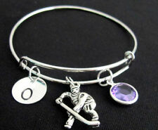 Ice hockey braclet, bangle,Expandable Personalized Initial bracelet I luv Hockey