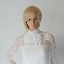 NEW Women Blonde Gold Short Straight Hair Wig Side Bang Model Cosplay Party GG