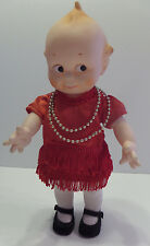 "Vintage Jesco 12"" Kewpie Doll Positionable Red Flapper Outfit Tights Shoes"
