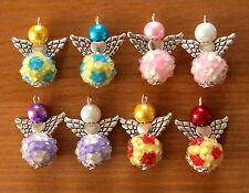 8x Football Amulet Colourful Angel Charms Pendants Beads Silver Wings
