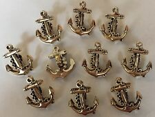 10 x Anchor Shaped Buttons With Shank. ABS Plastic Metal Look. Approx. 15mm