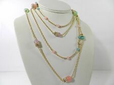 Charter Club Gold-Tone Pastel Beads and Pavé Double Layer Necklace