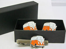 Orange VW Camper Van Cufflinks and Tie Clip Set Gift Boxed Wedding Enamel NEW!