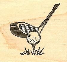 Golf Tee With Wood, Wood Mounted Rubber Stamp NORTHWOODS - NEW, A9783