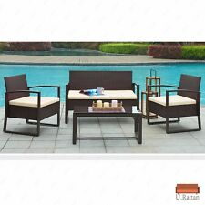 4PC Rattan Wicker Patio Sofa & Table Furniture Set Cushioned Lawn Garden Outdoor