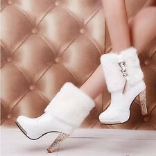 US 9 Women's White winter chunky heel rhinestone platform fur top ankle boots SZ