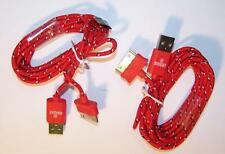 2 RED CLOTH RD IPHONE4 3 I PAD CHARGER PHONE CORD & 1 USB BRIGHT LED FLASHLIGHT