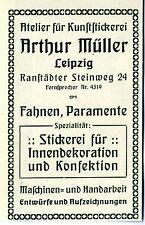 Arthur Müller Leipzig KUNSTSTICKEREI FAHNEN PARAMENTE Historische Reklame v.1909