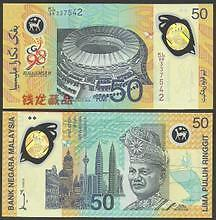 Malaysia RM50 KL98 Commonwealth Games, 1st Polymer Banknote With Folder (UNC)