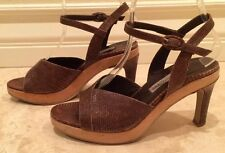 EMPORIO ARMANI Brown Lizard Leather Wood Plateform Sandal Heels Shoes 7M Italy