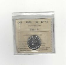 **1926 Near 6**, ICCS Graded Canadian,  5 Cent, **EF-45**