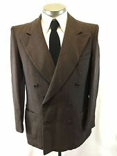 mens brown VINTAGE 50s blazer jacket double breasted gangster wool retro 40 R