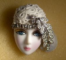 LADY HEAD FACE Porcelain-Look brooch pin Figural Vintage crochet rhinestones RS