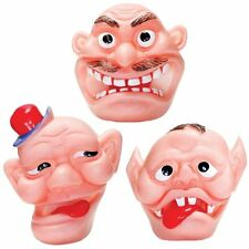 Set of 3 Flexiface Toys - Fun Rubbery Face Toys with Holes in for Fingers