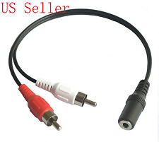 AV Female 3.5mm stereo Jack to Male 2 RCA plugs Audio F/M Cable