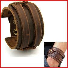 Bracelet Cuir HOMME FORCE Manchette MARRON Antique Style ROCK Johnny Deep 0€