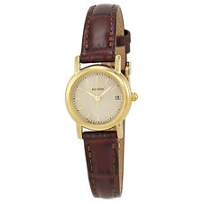 Citizen Eco-Drive Champagne Dial Gold-Tone Stainless Steel Brown Leather Ladies