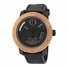 New Movado Bold Black Honeycomb Textured Dial Leather Strap Mens Watch 3600360