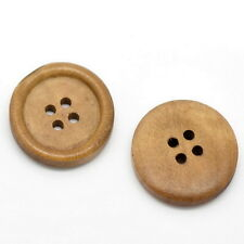 "25PCs Light Coffee 4 Holes Round Concave Wood Sewing Buttons 25mm(1"")Dia"