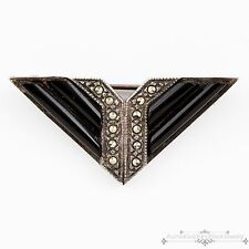 Antique Vintage Art Deco Sterling Silver Geometric Onyx Marcasite Pin Brooch!
