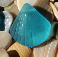 Sea Glass LARGE Clam Shell Pendant Beads~ Pacific Blue ( 29x27mm)~ 2 pcs.