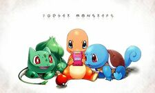 CUTE POKEMON MONSTERS ANIME Art Image A4 Poster Gloss Print Laminated