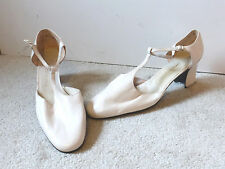 Vintage Charles Jourdan T Strap Heels Leather Size 9.5 Ivory New Nos