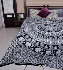 Ethnic Indian Elephant Mandala Print Bedding Duvet Quilt Cover Queen Duvet Set