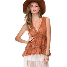 129318 New Intimately Free People V Lace Trapeze Cami Brown Tank Top  Small S