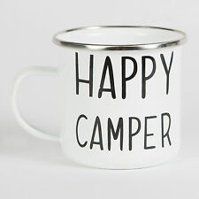 'HAPPY CAMPER' ENAMEL CAMPING CUP MUG KITSCH PICNIC FESTIVAL RETRO GIFT