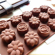 15 Slot Silicone Flower Rose Chocolate Cake Soap Mold Ice Tray Mould Baking Tool