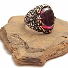 925K Sterling Silver Amethyst Men's Ring...Express Delivery