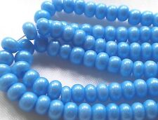 "Czech Glass Seed Beads Size 6/0 "" TERRA PEARL OPAQUE SKY BLUE "" Strands"