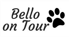 "Aufkleber SET f. Auto Sticker Hund Pfote Abruck Wunsch Name ""on Tour"""