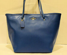 NWT! Coach Large Teal Crossgrain Leather Tote Bag F34099
