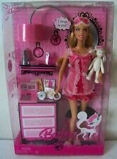 "Mattel Barbie Doll ""Color Your World Pink"" in Nightgown / Lingerie w/ Bunny 2008"