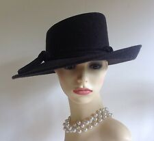 John Lewis Ladies Grey Vintage Inspired Wool Felt Wide Brim Hat With Knot Tie