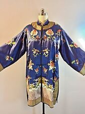 Vintage Chinese Asian Court Robe kimono Silk Embroidered Large Golden Dragon