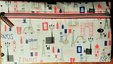 "Clinique Cosmetic Makeup Bag Paris France Theme Zippered New/Unused 8.5""x5"""