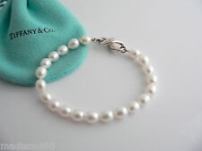 Tiffany & Co Silver Infinity Figure 8 Pearl Bracelet Bangle Rare Classic Pouch