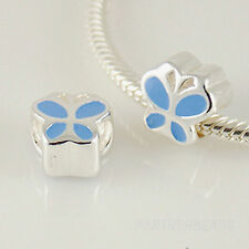 1 x .925 Sterling SILVER & Enamel BUTTERFLY BEAD For 3mm European CHARM BRACELET
